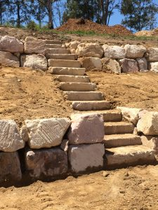 Steps for Boulder Retaining Walls